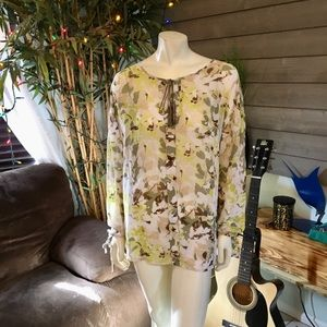 Lane Bryant Yellow Green Sheer Floral Tunic Top